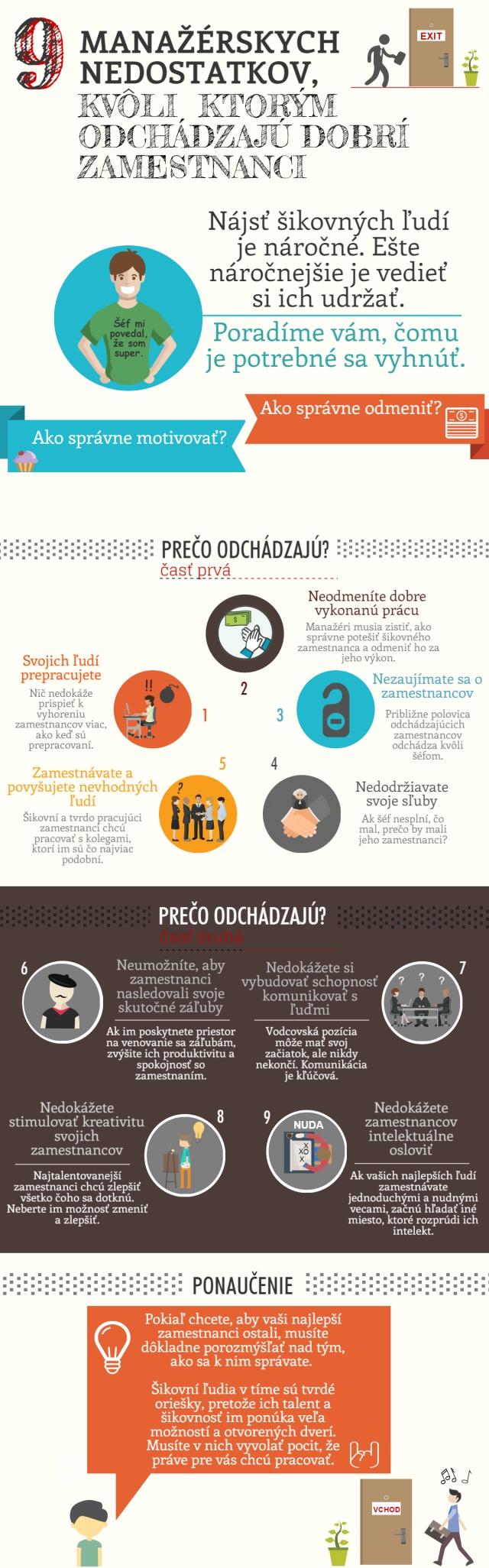 Infografika k článku 9 manažérskych nedostatkov, kvôli ktorým odchádzajú zamestnanci