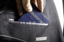 Passport in suit pocket